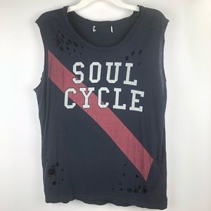Soul Cycle || distressed cap sleeve Top